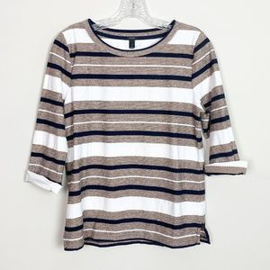 J.Crew | striped 3/4 sleeve pullover top small